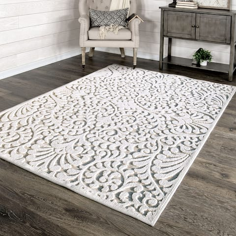 """My Texas House by Orian Indoor/Outdoor Bluebonnets Natural Driftwood Area Rug - 5'2"""" x 7'6"""""""
