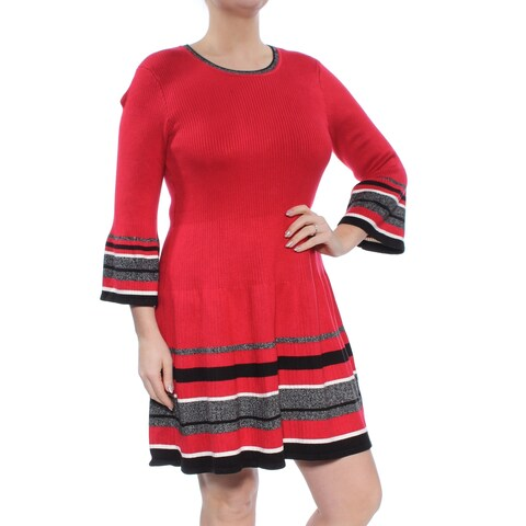 JESSICA HOWARD Womens Red Sweater Striped Bell Sleeve Jewel Neck Above The Knee Dress Petites Size: L