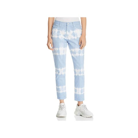 [BLANKNYC] Womens Straight Leg Jeans Cotton High Rise - Blue/White Combo