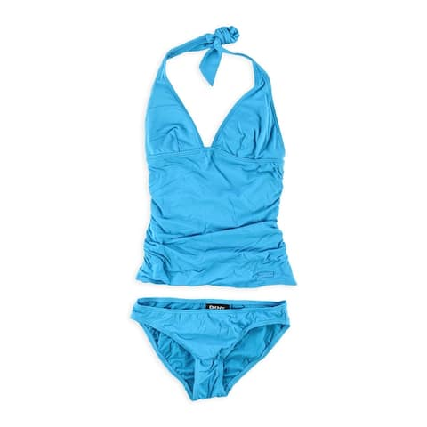 Dkny Womens Ruched Brief 2 Piece Tankini
