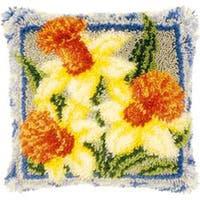 "Vervaco Cushion Latch Hook Kit 16""X16""-Daffodils"