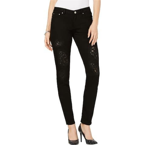 Michael Kors Womens Dillon Lace Patch Relaxed Fit Jeans, Black, 4P