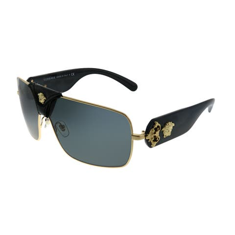 Versace Squared Baroque VE 2207Q 100287 Unisex Gold Black Leather Frame Grey Lens Sunglasses