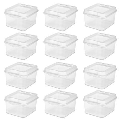 STERILITE Flip Top Boxes, Clear - Case of 12