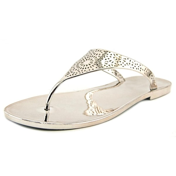 BCBGeneration Starr Women Open Toe Canvas Silver Thong Sandal