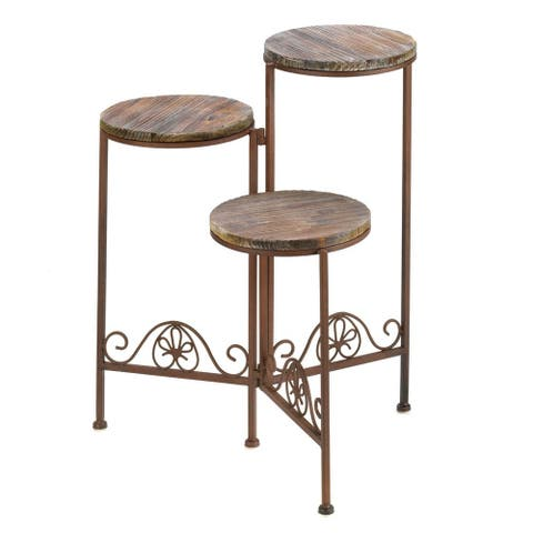Weathered Wood Planter Stand - Brown