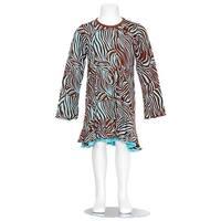 Danica and Dylan Toddler Girl Brown Blue Zebra Print Dress 2T
