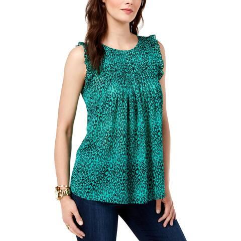MICHAEL Michael Kors Womens Blouse Printed Sleeveless