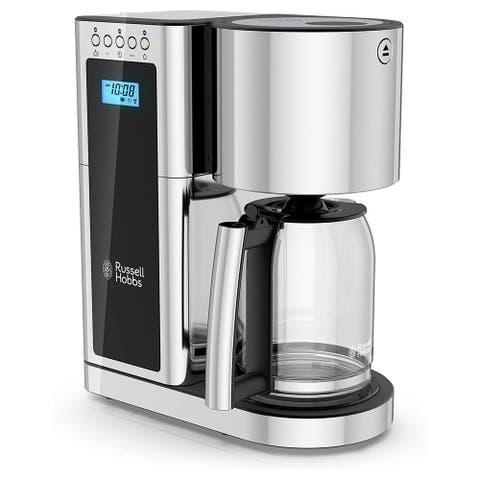 Russell Hobbs Glass 8 Cup Coffee Maker in Black and Stainless Steel