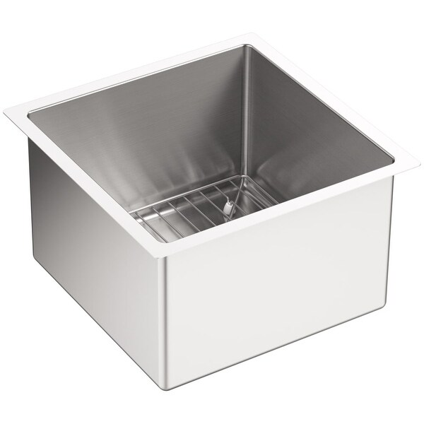 "Kohler K-5287 Strive 15"" Single Basin Undermount 16-Gauge Stainless Steel Kitchen Sink with SilentShield with Basin Rack"