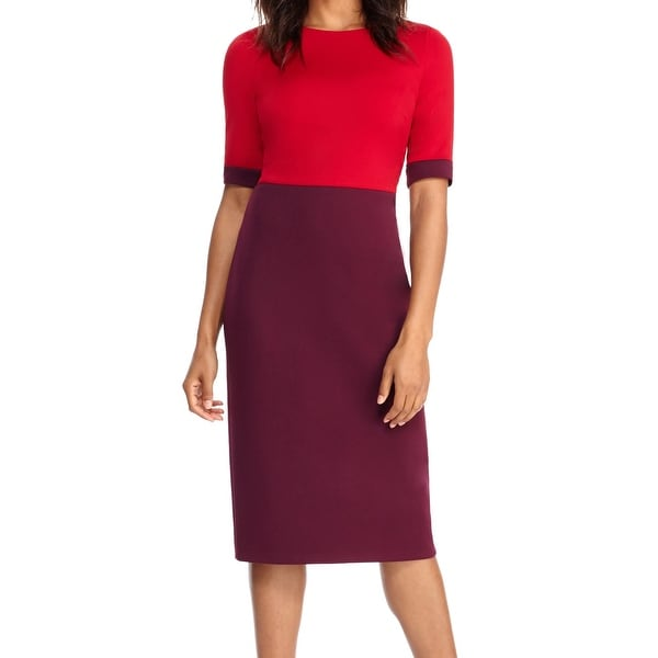 Shop Maggy London New Red Purple Womens Size 12 Sheath Colorblocked