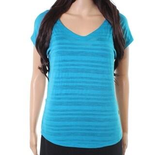 Smartwool NEW Blue Womens Size Large L Burnout V-Neck Blouse Wool
