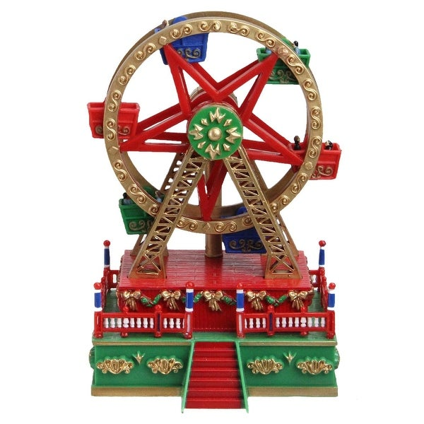 "5.5"" Wound Up Mini Carnival Ferris Wheel Christmas Table Top Decoration - green"