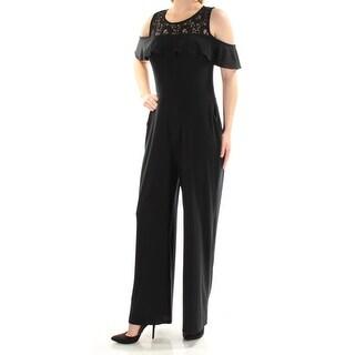 Womens Black Jewel Neck Short Sleeve Casual Jumpsuit Size XXL
