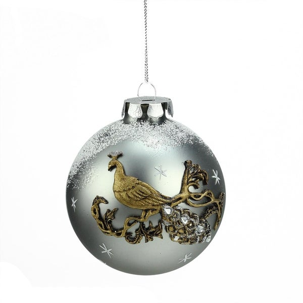 """3.25"""" Frosted Silver Embellished Peacock Design Glass Ball Christmas Ornament (80mm)"""