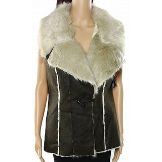 INC NEW Night Moss Green Women's Size Medium M Faux Fur Vest Jacket
