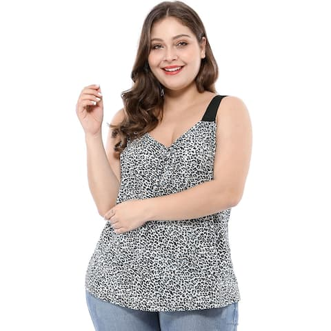 Women's Plus Size Sleeveless Tank Top Leopard Camisole - White