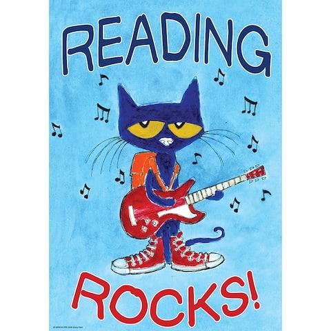 Pete The Cat Reading Rocks Poster Positive - Sky Blue