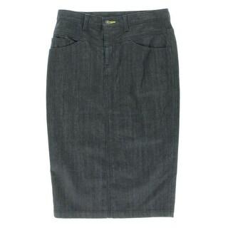 Catherine Malandrino Womens Parisienne Dark Wash Pocket Denim Skirt