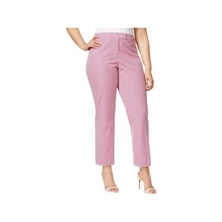 Anne Klein Womens Plus Trouser Pants Seersucker Striped