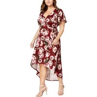 BCX Womens Plus Wrap Dress Floral Print Hi-Low