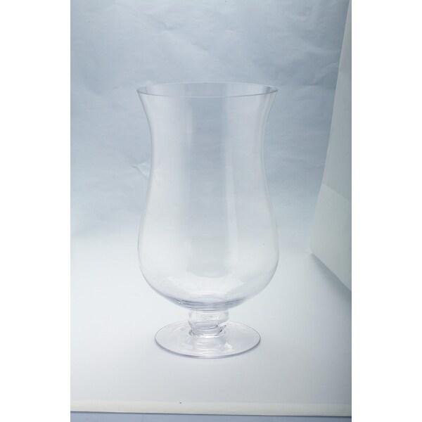 """16"""" Handblown Glass Hurricane Pillar Candle Holder - N/A"""