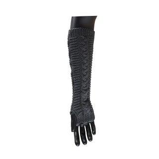 Unisex Thumbhole Fingerless Knitted Gloves Dark Gray 1 Pair