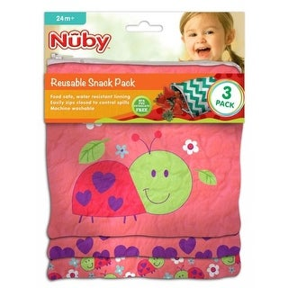 Nuby Reusable Sandwich and Snack Bags Set, Ladybug, 3-Pack