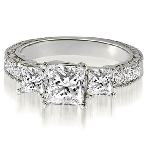 1.75 cttw. 14K White Gold Antique Three-Stone Princess Diamond Engagement Ring