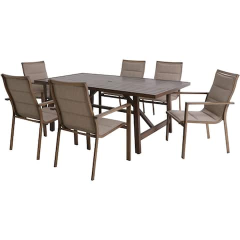 Hanover Fairhope 7-Piece Outdoor Dining Set with 6 Padded Contoured-Sling Chairs and a 74-In. x 40-In. Trestle Table, Tan