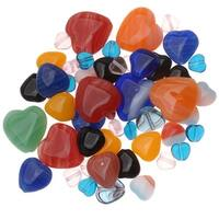 Czech Glass Heart Shaped Bead Mix Lot Assorted Colors And Sizes (1 Oz.)