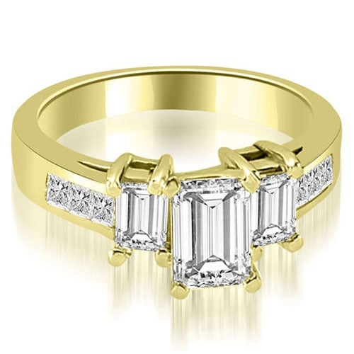 1.75 cttw. 14K Yellow Gold Channel Princess and EmeraldDiamond Engagement Ring