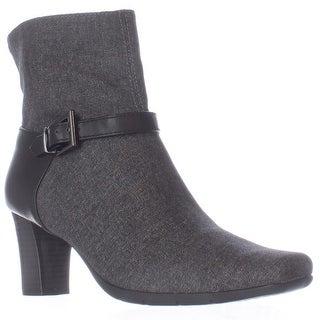 Aerosoles Harmonica Square Toe Ankle Strap Boots - Grey Wool