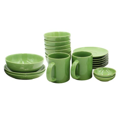 Casara 19 Piece Dinnerware Set, Dark Green