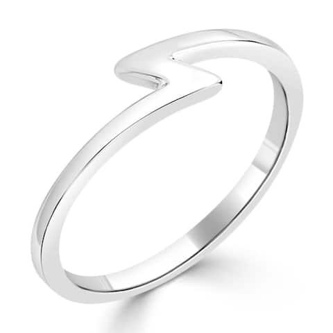 Auriya Women's Petite Ultra-Thin Stackable Lightning Bolt 10k Gold Ring