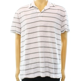 Calvin Klein Jeans NEW White Gray Mens Size XL Striped Polo Shirt