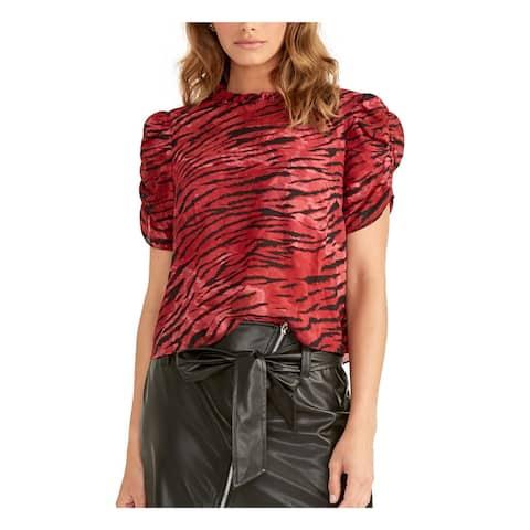 RACHEL ROY Womens Red Printed Short Sleeve Jewel Neck Top Size S