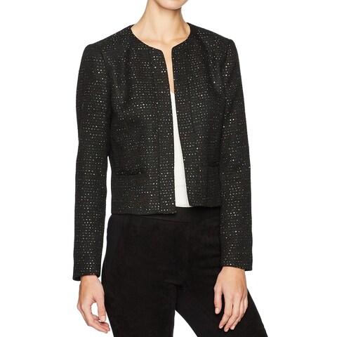 Nine West Black Womens Size 14 Open-Front Embellished Jacket