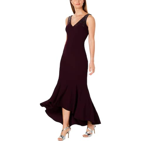 Calvin Klein Womens Formal Dress V-Neck Hi-Low