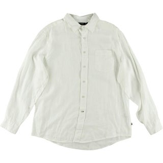 Nautica Mens Linen Solid Button-Down Shirt
