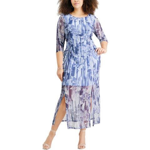 NY Collection Womens Plus Sheath Dress Printed 3/4 Sleeve - Blue