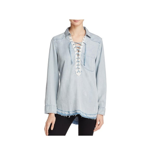 3b68a342d0039b Shop Vintage Havana Womens Pullover Top Lace Up Long Sleeves - Free ...