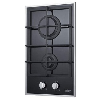 Summit GC2BGL 2-Burner Gas-On-Glass Cooktop W/Sealed Burners & Cast Iron Grates