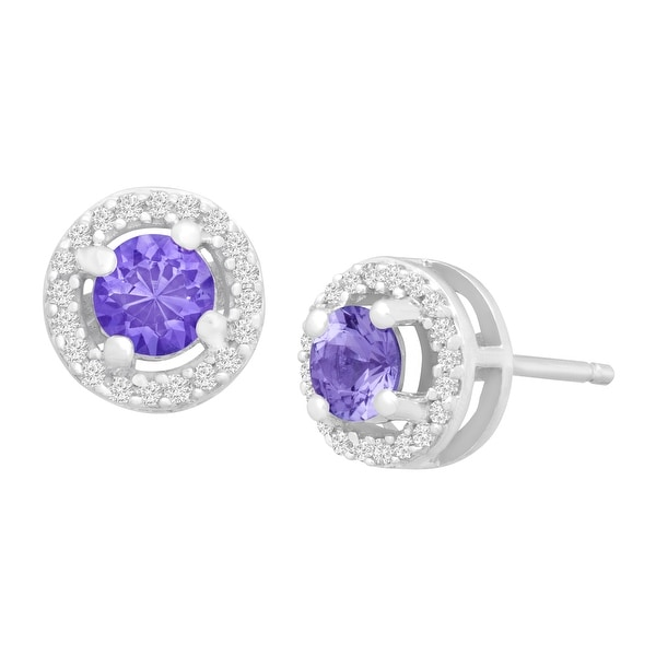 1/2 ct Natural Tanzanite & 1/8 ct Diamond Stud Earrings in 10K White Gold - Purple
