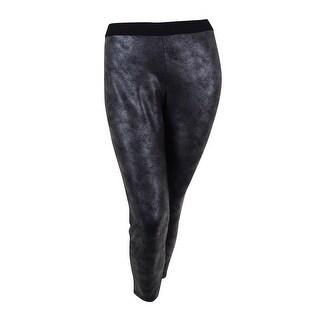 Alfani Women's Foil Ponte Ultra Skinny Legging Pant L, Metallic Pewter - L
