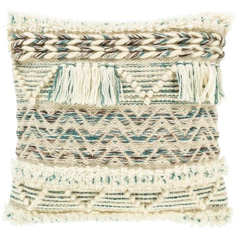 Kalani Handwoven Textured Boho Wool Throw Pillow