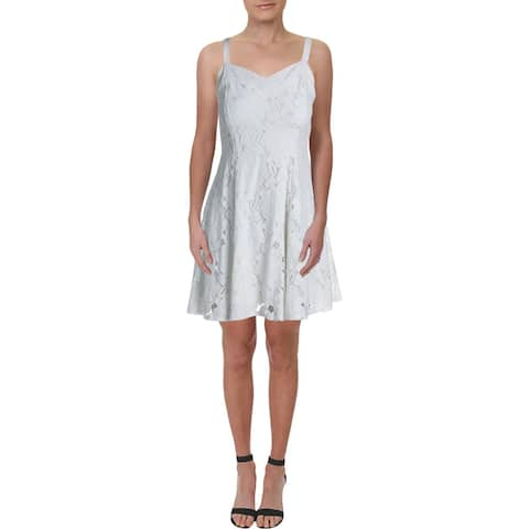 Trixxi Womens Mini Dress Lace Overlay Criss-Cross Back - White
