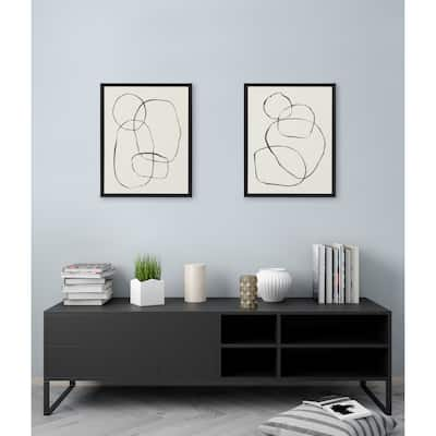 Kate and Laurel Sylvie Modern Circles and Going in Circles Framed Canvas Set by Teju Reval