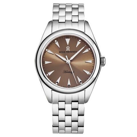 Revue thommen men's 'heritage' salmon dial automatic watch 21010.2139