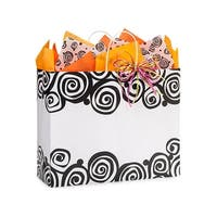 "Pack Of 25, Bohemian Swirls Recycled Bags W/White Paper Twist Handles - Vogue 16 X 6 X 13"" Made In Usa"